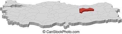 Map - Turkey, Erzincan - 3D-Illustration