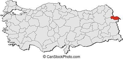 Map igdir turkey Map of igdir a province of turkey vector