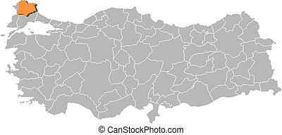 Map - turkey, kirklareli. Map of turkey with the provinces ...