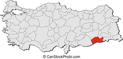 Map mardin turkey Map of mardin a province of turkey eps