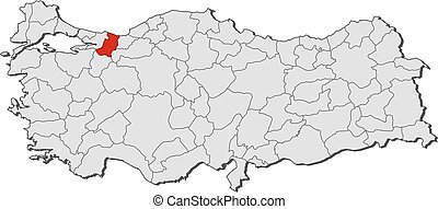Map turkey sakarya Map of turkey with the provinces vector