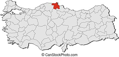 Map turkey sinop Map of turkey with the provinces sinop