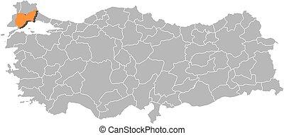 Map tekirdag turkey Map of tekirdag a province of eps