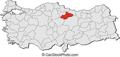 Map tokat turkey Map of tokat a province of turkey clip art