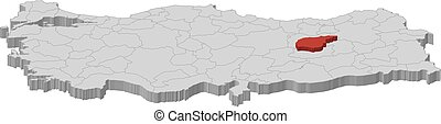 Map tunceli turkey Map of tunceli a province of turkey vectors