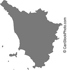 Map of Tuscany, a province of Italy.