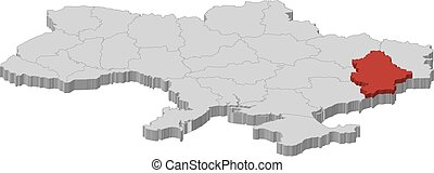 Map of Ukraine as a gray piece, Donetsk is highlighted in red.