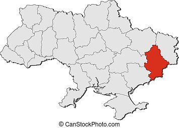 Map of Ukraine with the provinces, Donetsk is highlighted.