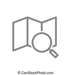 Map under a magnifying glass line icon. Navigation symbol and sign