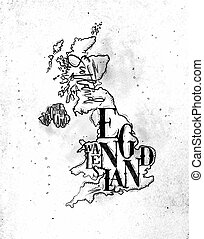 Map United Kingdom vintage