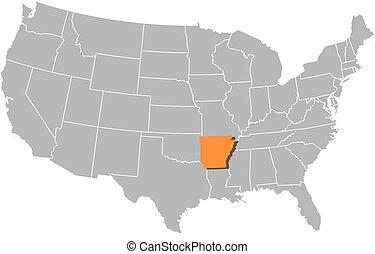 Arkansas State On Us Map Maps Of USA Arkansas Ipl2 Stately