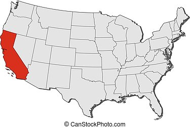 Map of united states, california highlighted. Map of united... stock Ca Usa Map on