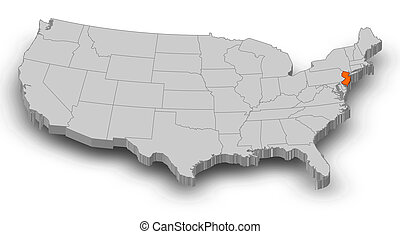 New Jersey Nj State United States Of America 3d Animated State Map