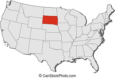 Map of the us state of south dakota vector illustration Search