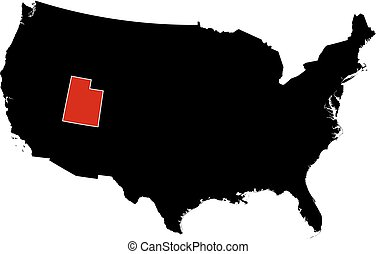 Utah Red Abstract D State Map United States America A Red - Us map utah