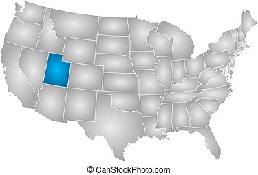 Map of utah with regions. Vector map of utah with named regions and ...