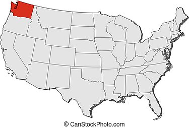 Stock Illustration Of D Map Of United States State Washington - Washington state in usa map