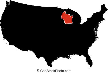 Vector Illustration Of United States Map Wi Illustration Of - Us map wisconsin