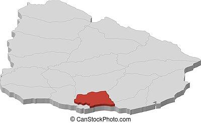 Map - Uruguay, Canelones - 3D-Illustration