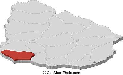 Map - Uruguay, Colonia - 3D-Illustration