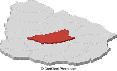 Map - Uruguay, Durazno - 3D-Illustration