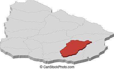 Map - Uruguay, Lavalleja - 3D-Illustration