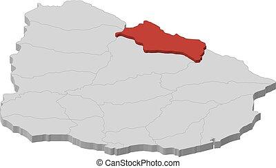 Map - Uruguay, Rivera - 3D-Illustration