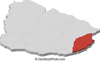 Map - Uruguay, Rocha - 3D-Illustration
