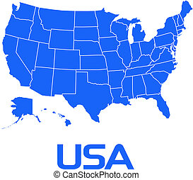 Map USA in nice blue