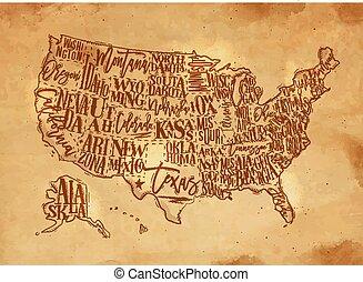 Map USA vintage craft