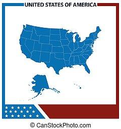 Map USA with American Flag Frame