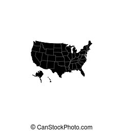 Map USA with federal states black on white background