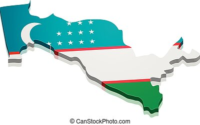 detailed illustration of a map of Uzbekistan with flag, eps10 vector