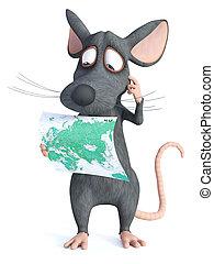 map., vertolking, vasthouden, muis, spotprent, 3d