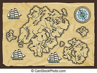 map., vieux, fond, nautique