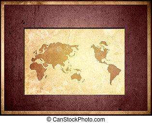 map-vintage, mondo, tuo, grafica