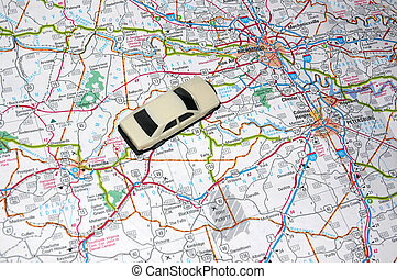 Road Trip - Map with a Model Car, Road Trip
