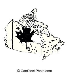 map with canadian flag emblem icon