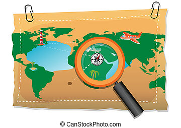 map with compass and lens