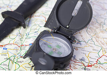 Map with compass - Mountain map with compass and survival...