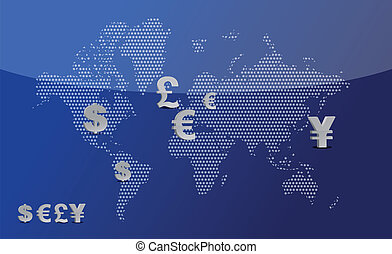 Map with currency symbols