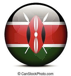 Map with Dot Pattern on flag button of Kenya