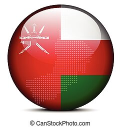 Map with Dot Pattern on flag button of Sultanate Oman