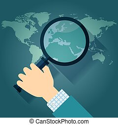 map with Europe magnifying glass - World map countries with ...