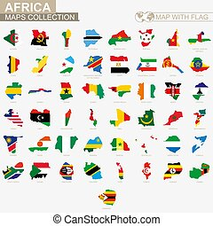 Map with flag African countries collection.