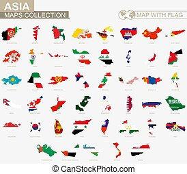 Map with flag Asian countries collection.