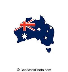 map with flag australia icon on white background