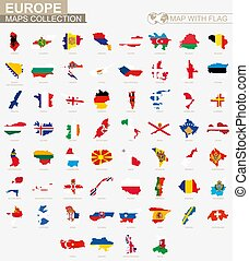 Map with flag European countries collection.