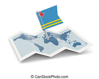 Map with flag of aruba