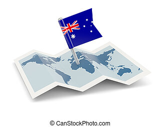 Map with flag of australia